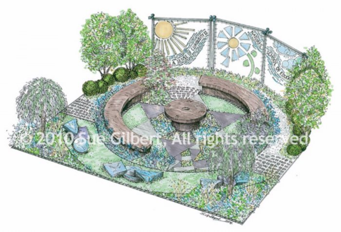 My hand drawn sketch in colour of how the garden would look.