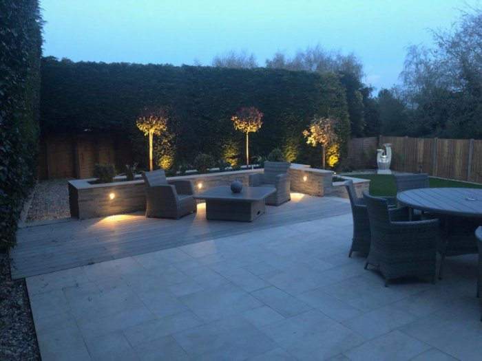 Lighting makes all new gardens extra special, and especially this garden. Bringing the planting and level changes to life at night.