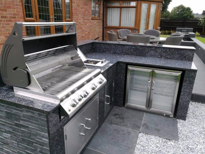 The new outdoor kitchen allows for complete entertaining outside.