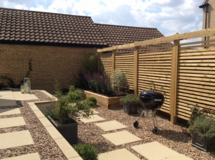 The new bespoke trellis screens create privacy and allow scented climbers to grow up and soften them in time.