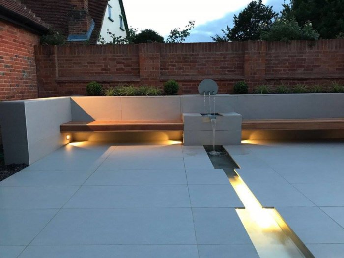 Under lighting the seating makes them feel like they float; the water rill has the led strip in it to enhance this view line too.