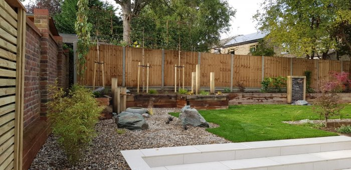 Feature slate rocks set in gravel areas softened with planting continue the overall theme.