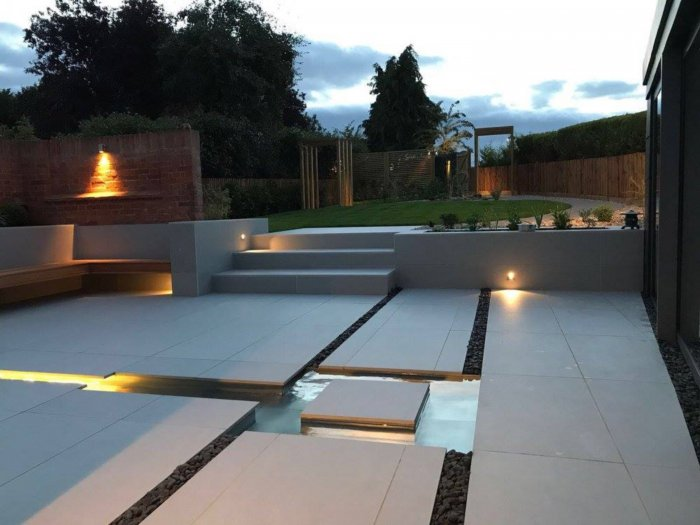 The completed garden; lighting was key to this design.