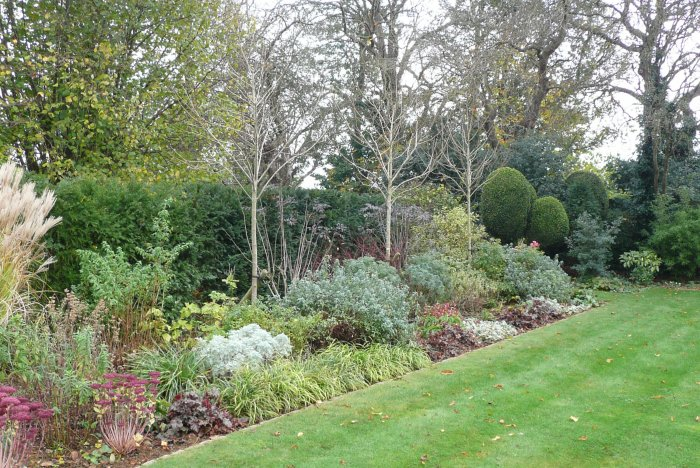 The formal garden in winter still showing interest and structure.
