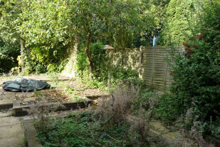On survey day- overgrown and tired but a lovely space just waiting for redesign.