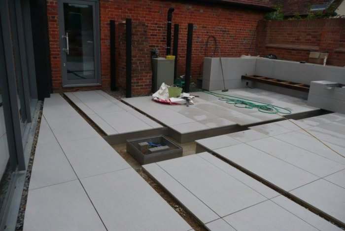 The water feature is ready for completion.