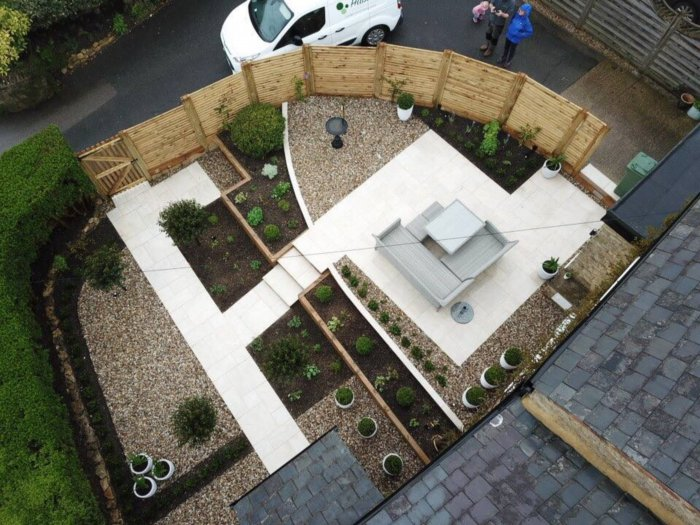 A drone shot of the garden shows how much bigger the space feels now.