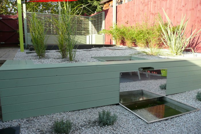 The planting is mostly evergreen and foliage based, very low maintenance.