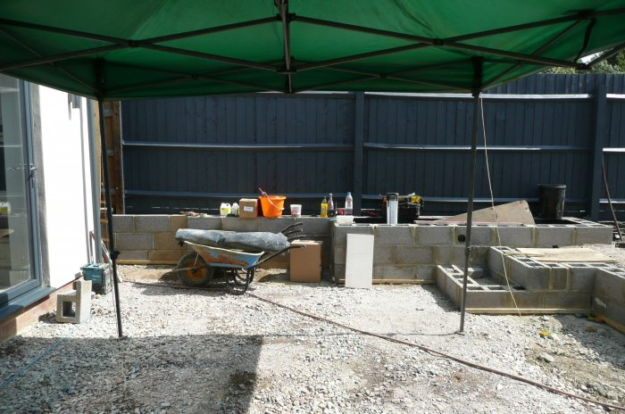 The sub base for the lower patio is done and the steps and raised beds are constructed.