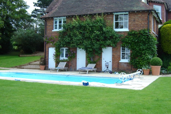 The old outbuilding has been sensitively restored and now houses the new pool system.